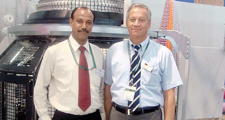 Bhaskar Dutta of Batliboi with Rainer Mayer. MD Mayer & Cie proudly display one of their machines