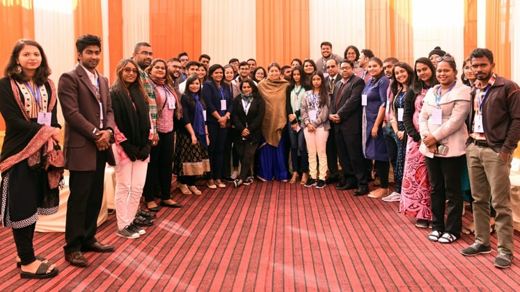 Smriti Zubin Irani with young professionals of Indian diaspora from eight countries