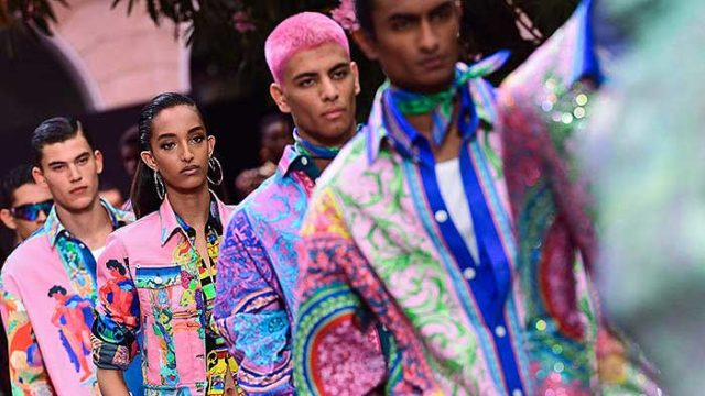 Versace dedicates Men's S/S'20 to Keith Flint with a bold, flashy vintage flair